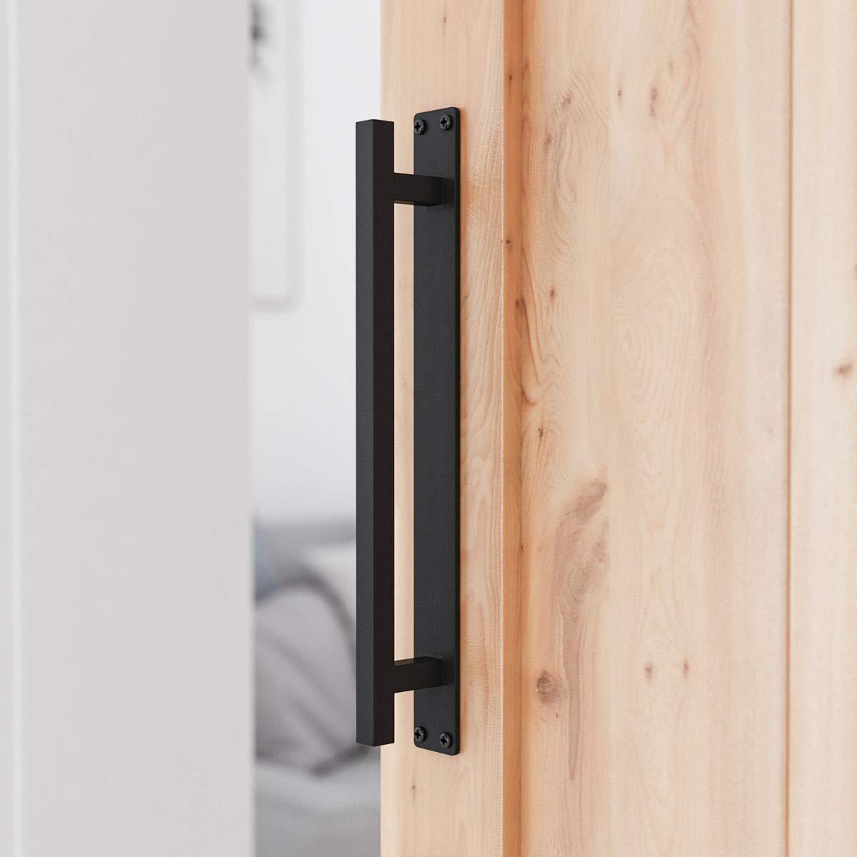 """SMARTSTANDARD 12"""" Rustic Barn Door Handle for Sliding Door - Heavy Duty Barn Door Hardware Black Door Pull Plate, Antique Long Base Gate Handles Pulls Push"""