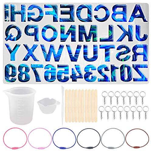 Letter Resin Silicone Molds, Alphabet Number Resin Silicone Epoxy Molds Backward Silicone Molds for DIY Resin Crafts, Keychain, House Number, Jewelry, Teaching Tools, Pendants (H01)