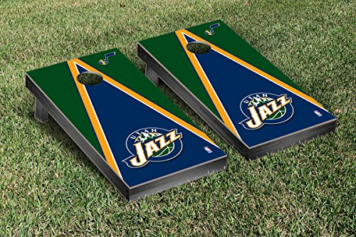 Utah Jazz NBA Basketball Cornhole Game Set Triangle Version by Victory Tailgate