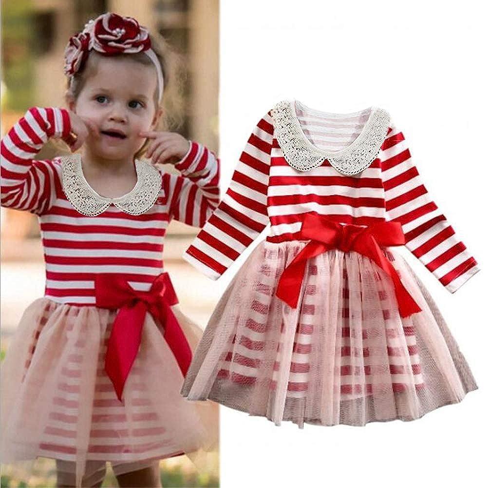 bf89b4e840 Amazon.com  Christmas Dress Children Girls Long Sleeve Red Dress Kids  Striped Tutu Dress  Clothing