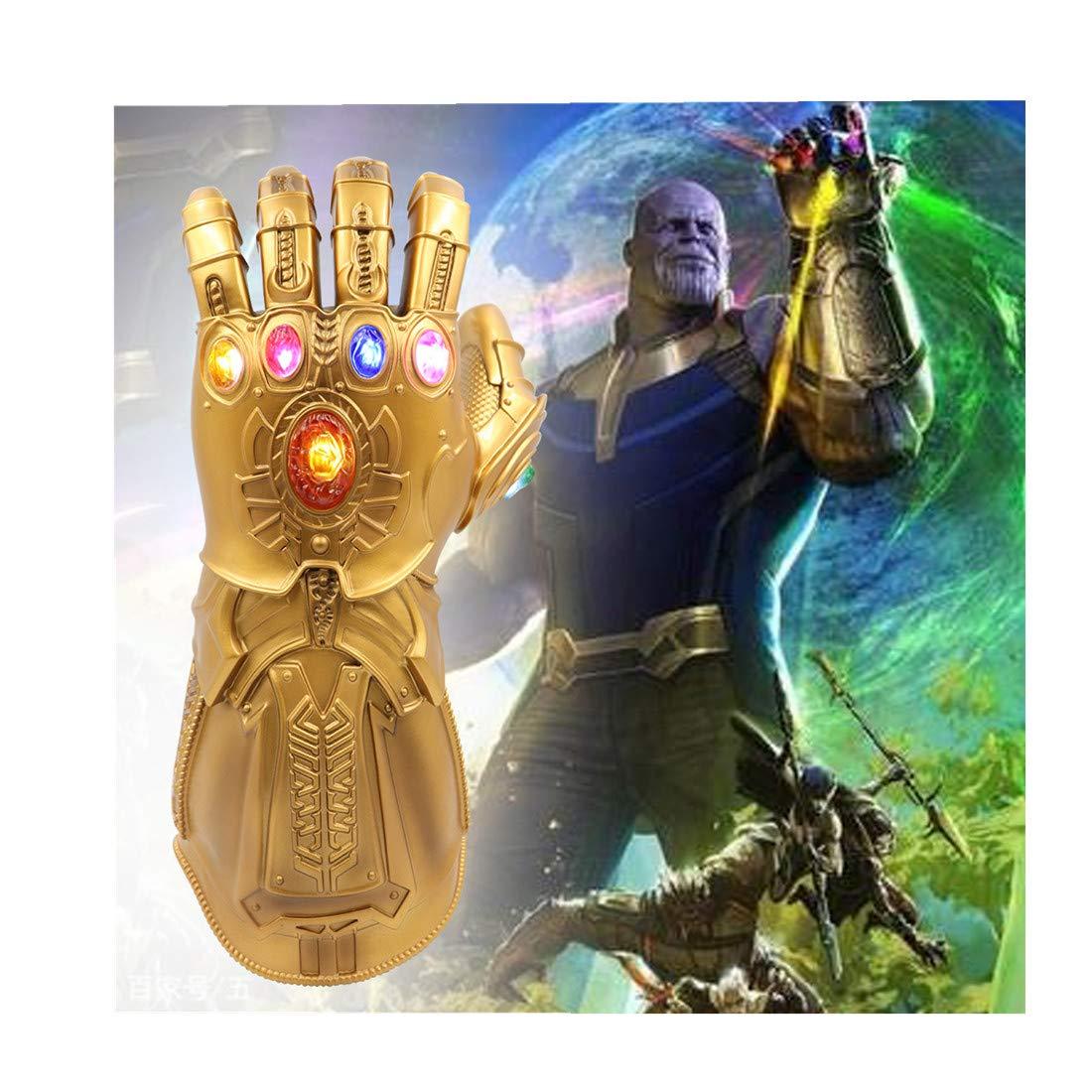 Infinity Gauntlet LED Light PVC Gloves Gift Toy for Halloween Props for Kids (Gold)