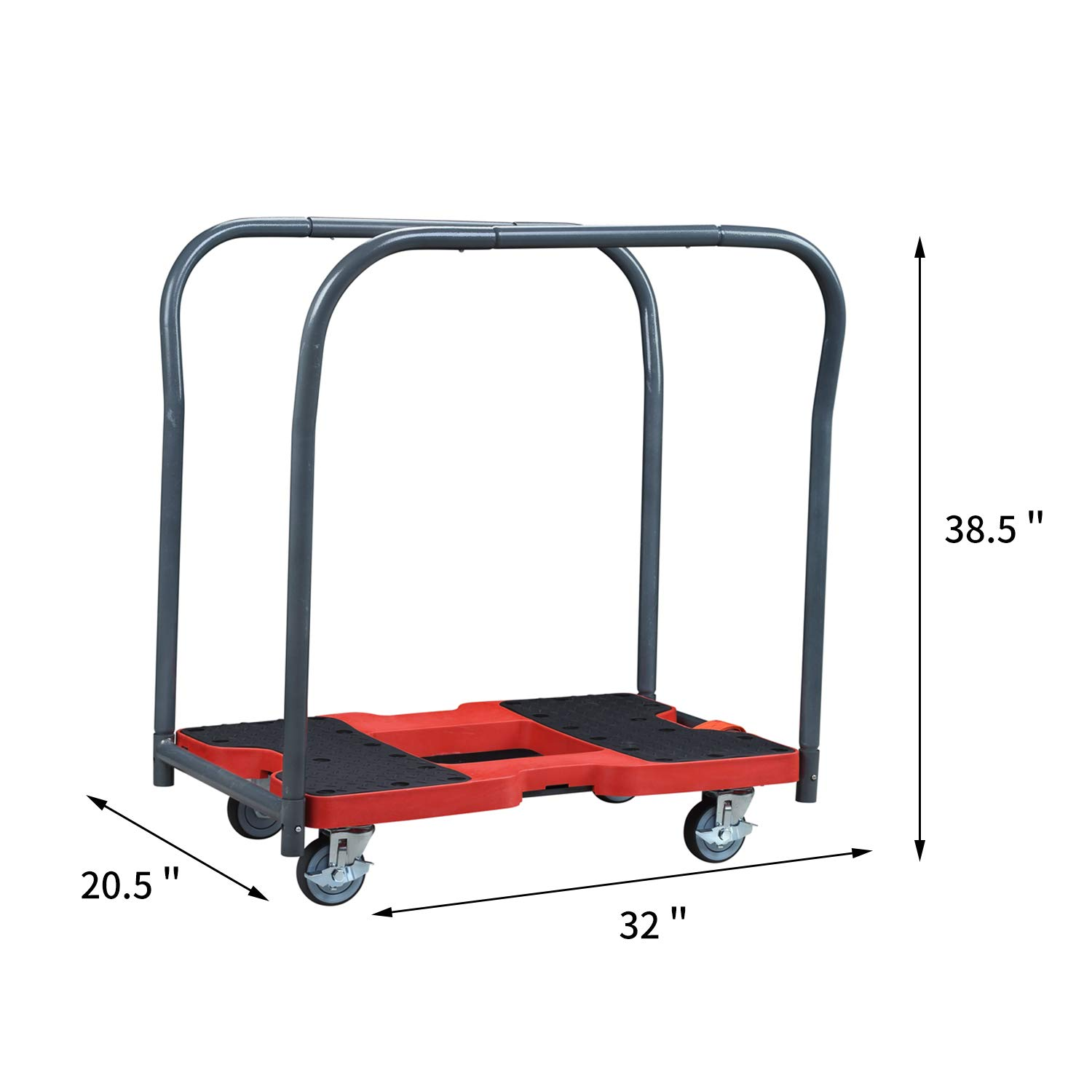 Rolling Flatbed Cart Hand Platform Truck , Push Dolly for Loading with Double Row Handle,Carrying Capacity: 1500 LBS