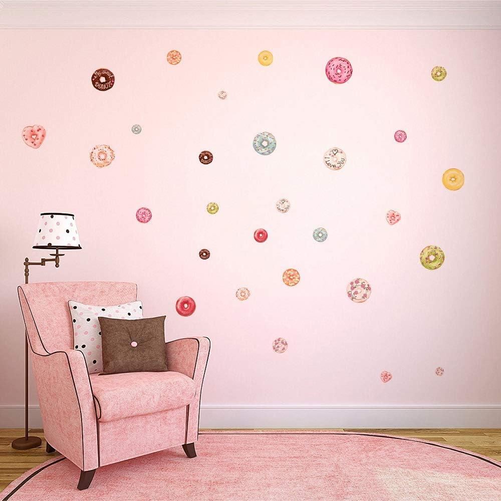 48 counts donuts wall decorations, kawaii food decor for girls room , nursery wall decals
