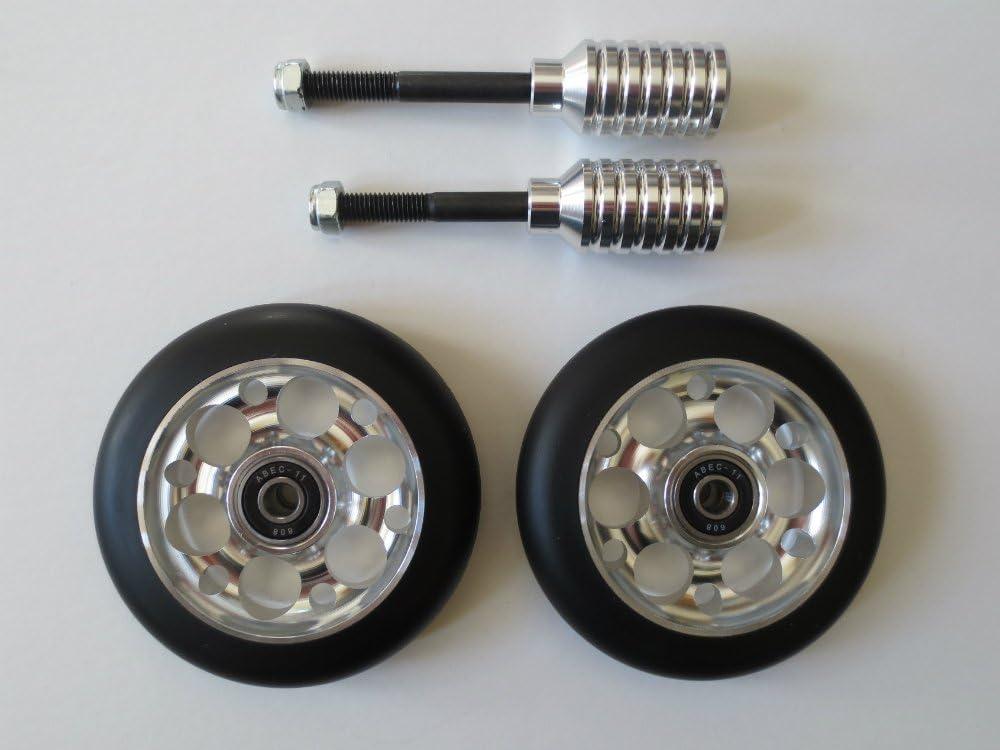 2 wheels + 2 pegs + 2 axles DIS 110mm Oil Slicks Scooter Wheels and Pegs Set