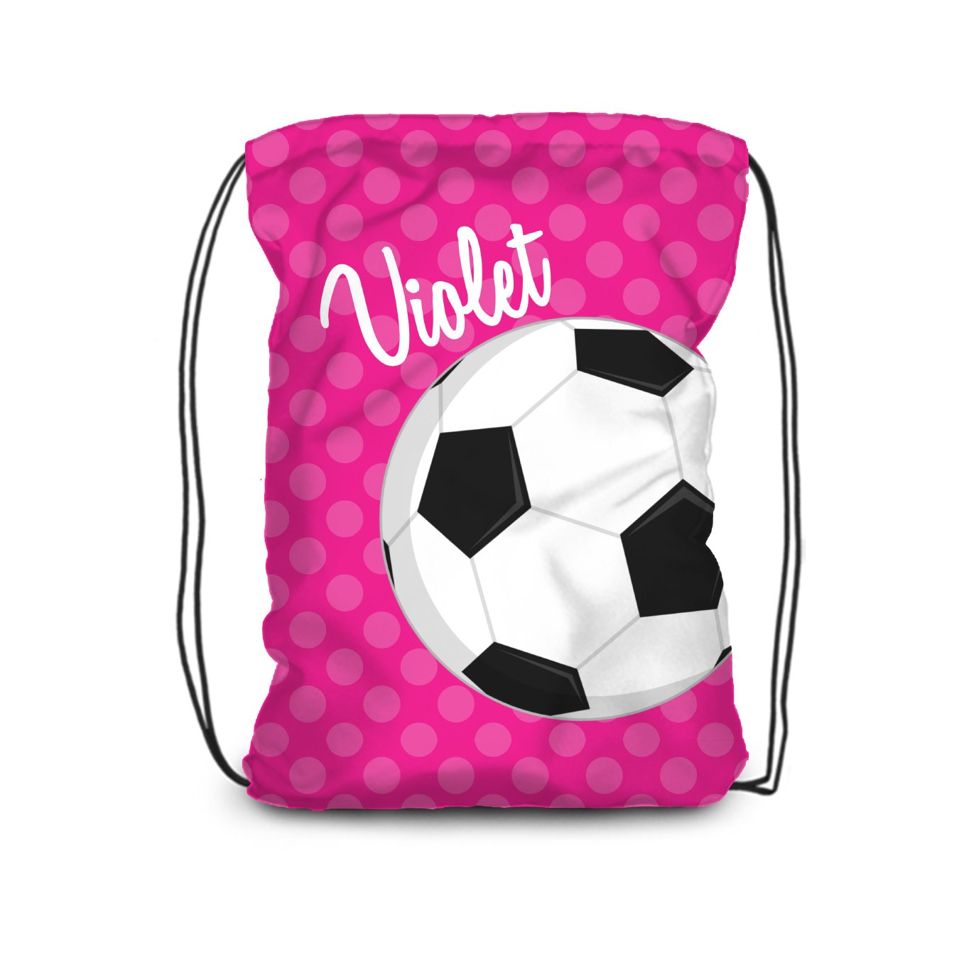 Sports Drawstring Backpack - Hot Pink Soccer Personalized Name Bag
