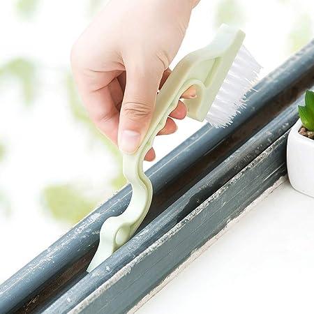 Cepillo de limpieza NIHAI con mango largo, para limpiar ventanas, puertas correderas, puertas de ducha, pistas de la puerta del hogar, cepillo de limpieza: Amazon.es: Hogar