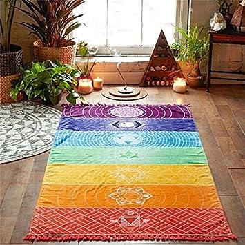 Bonytain Rainbow Chakra Mandala - Tapiz decorativo para pared, diseño bohemio, para yoga, macramé, toalla de playa: Amazon.es: Hogar