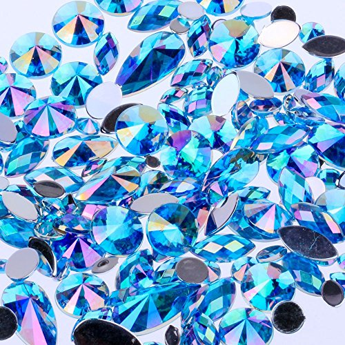 Mix Sizes 300pcs Crystal Lake Blue AB Nail Art Rhinestones DIY Non Hotfix Flatback Acrylic Nail Stones Gems for 3D Nails Art Decorations (Lake Blue AB)