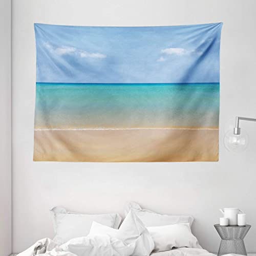 Ambesonne Ocean Tapestry, Still Calm Sea at The Beach with Aquatic Landscape Sun Peace Relax Nature Image, Wide Wall Hanging for Bedroom Living Room Dorm, 80 X 60 , Turquoise Cream