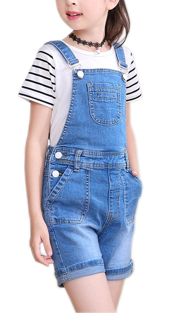 Sitmptol Big Girl's Denim Jumpsuit Boyfriend Bib Jeans Romper Shortalls Ovearll Blue 140