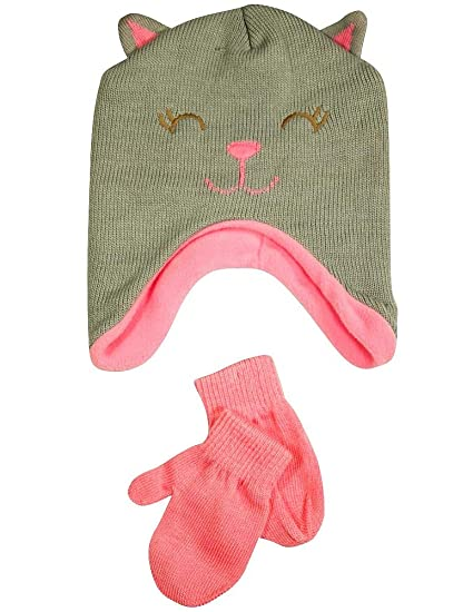 7b6de00f43b Amazon.com  Winter Warm-Up - Little Girls Hat and Mitten Set Fits 2 ...