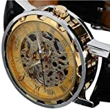 Voberry® Classic Men's Leather Dial Skeleton Mechanical Sport Army Wrist Watch (Gold) (black)
