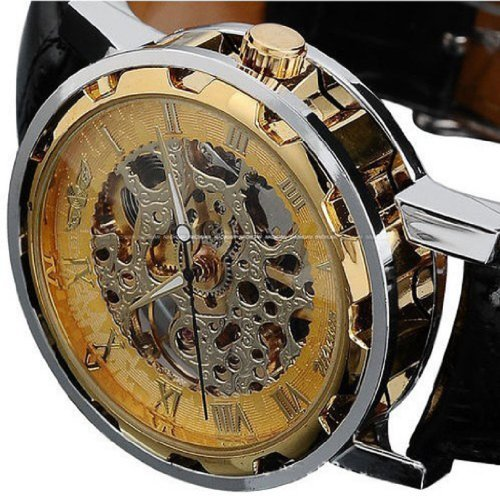 Voberry® Classic Men's Leather Dial Skeleton Mechanical Sport Army Wrist Watch (Gold) - Mechanical Dial Black Skeleton