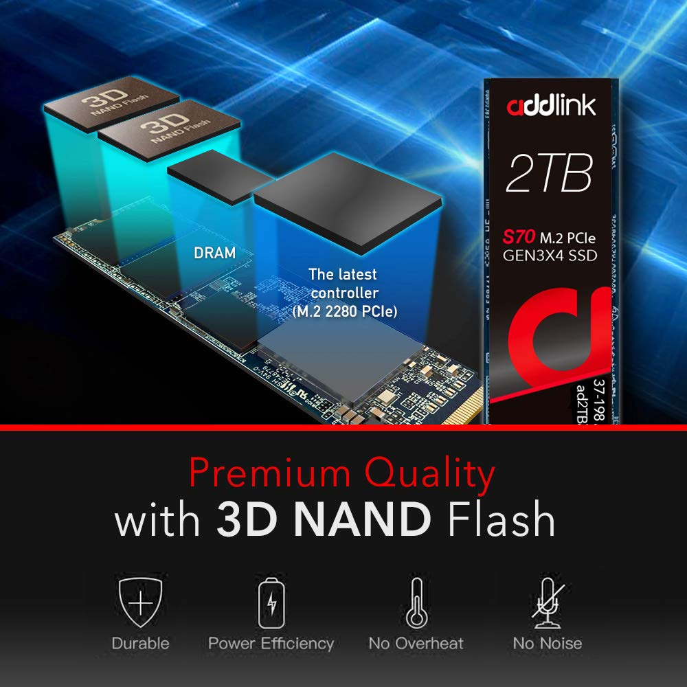 addlink S70 2TB NVMe PCIe Gen3x4 M.2 2280 SSD R/W 3500/3000MB/s Internal Solid State Drive