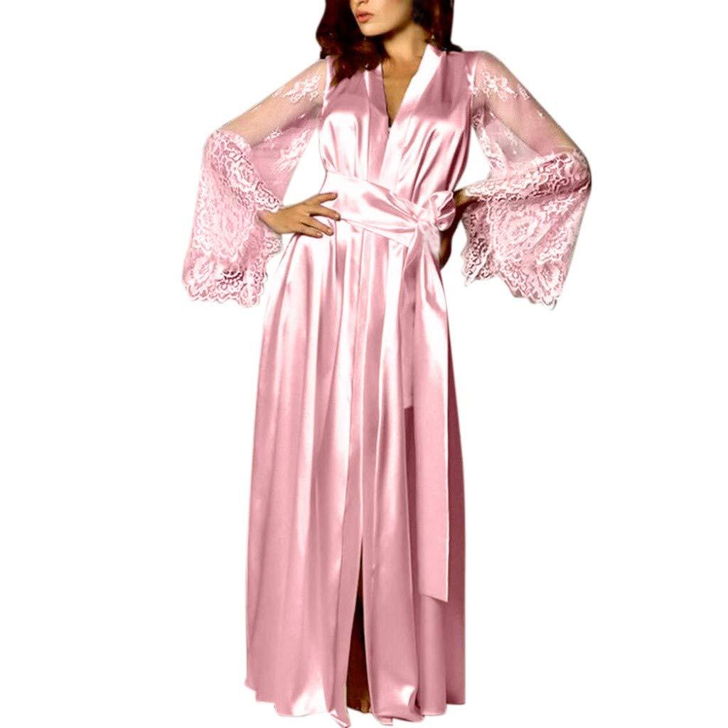 Pervobs Women Satin Pure Colour Long Sleeve Belt Long Nightdress Silk Lace Lingerie Nightgown Sleepwear Sexy Robe(L, Pink)