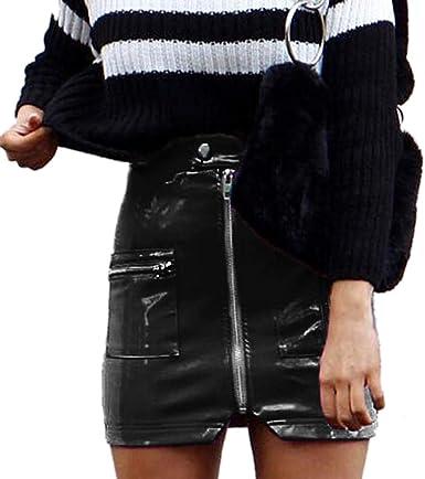 Jinglive Mujeres Cintura Alta Cuero Falda Mini Falda Sexy Bodycon ...