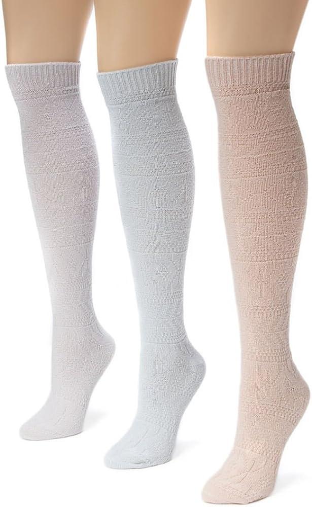 Muk Luks Womens 3 Pair Pack Diamond Knee High Socks