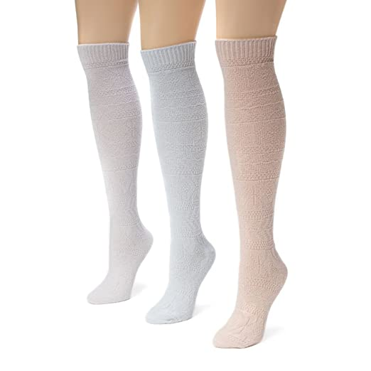575ec753257 Muk Luks Women s 3 Pair Pack Diamond Knee High Socks at Amazon Women s  Clothing store