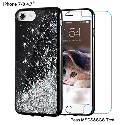 Price comparison product image iPhone 8 Case, iPhone 7 Case, Maxdara [Screen Protector] Black Glitter Liquid Sparkle Protective Bumper Case Floating Bling Pretty Quicksand for Girls Children [Pass MSDS&SGS Safety Test] (Silver)