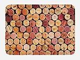 Ambesonne Wine Bath Mat, Random Selection of Used Wine Corks Vintage Quality Gourmet Taste Liquor, Plush Bathroom Decor Mat with Non Slip Backing, 29.5 W X 17.5 W Inches, Mustard Mauve Maroon