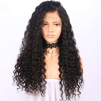 "Ugeat 16"" Deep Wave Pelucas Humano Cabello Natural Full Lace 130% Densidad Pelucas de"