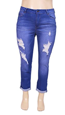 3d49bc1fd92 Celebrity Pink Women PLUS SIZE Cuffed Distressed Skinny Boyfriend Jeans 14 Medium  Denim