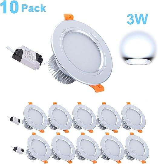 Foco Empotrable LED, Gr4tec 10 X 3W Downlight Plafón Luz de Techo ...