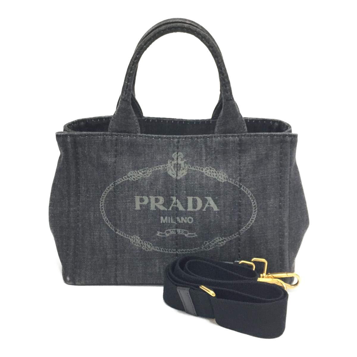 [プラダ] PRADA カナパトート 2wayショルダーバッグ グレー キャンバス B2439G [中古]   B07RKGHN3X