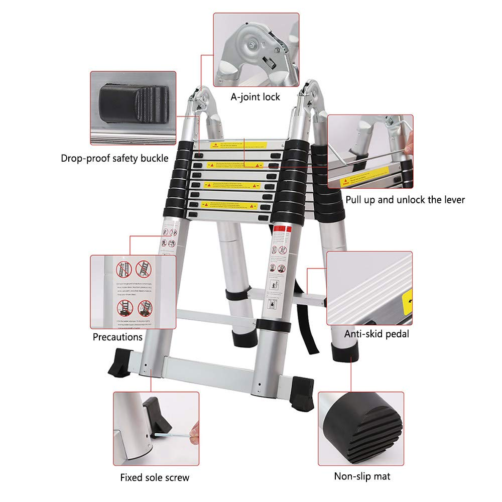 Zuladung 150 kg,1.3+1.3M 2,5M + 2,5M A-Rahmen und gerade ausziehbare Aluminiumleiter Hochleistungssicherheitsverriegelung Mehrzweck-Multifunktionsleiter Max MOTOHEBAG 5M Teleskopleiter