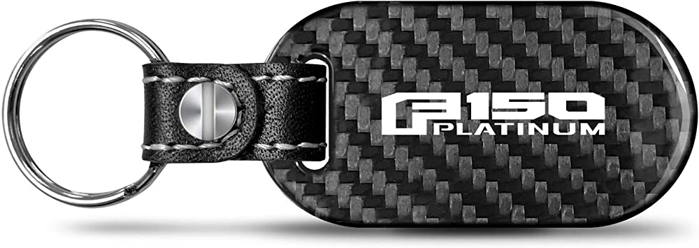 Ford F-150 White Carbon Fiber Texture Leather Key Chain