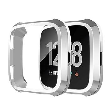 SYOSIN Compatible con Fitbit Versa Protector Pantalla Funda Suave TPU Cubierta Completa para Fitbit Versa Smartwatch (Plata)