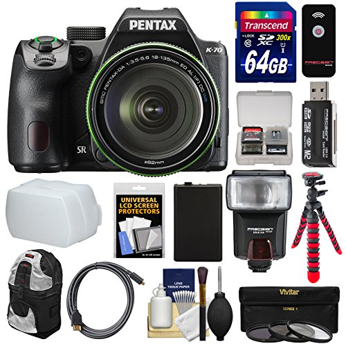 Pentax K-70 All Weather Wi-Fi Digital SLR Camera & 18-135mm WR Lens (Black) with 64GB Card + Backpack + Flash + Battery + Tripod + Filters + Remote + Kit (Digital Cables Pentax)