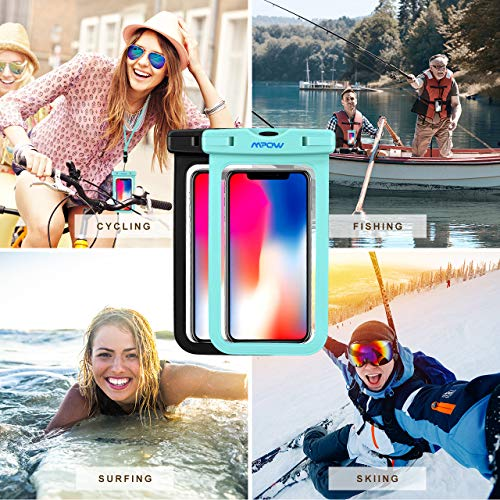 Mpow Universal Waterproof Case, IPX8 Waterproof Phone Pouch Dry Bag Compatible for iPhone Xs Max/Xs/Xr/X/8/8plus/7/7plus/6s/6/6s Plus Galaxy s9/s8/s7 Google Pixel HTC12 (Light Blue+Black 2-Pack) by Mpow (Image #1)