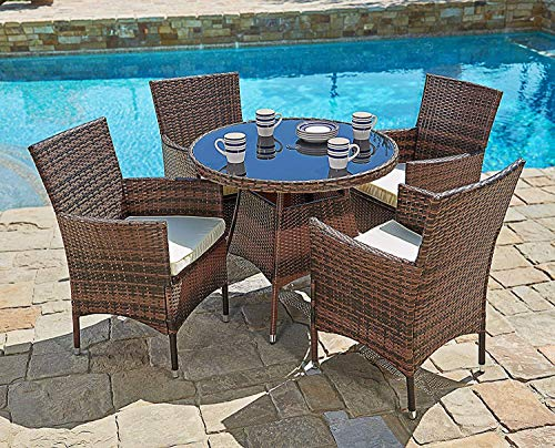 SUNCROWN Outdoor Furniture All-Weather Wicker Round Dining Table and Chairs (5-Piece Set) Washable Cushions, Patio, Backyard, Porch, Garden, Poolside, Tempered Glass Tabletop, Modern Design (Set Wicker Outdoor Piece Dining 5)