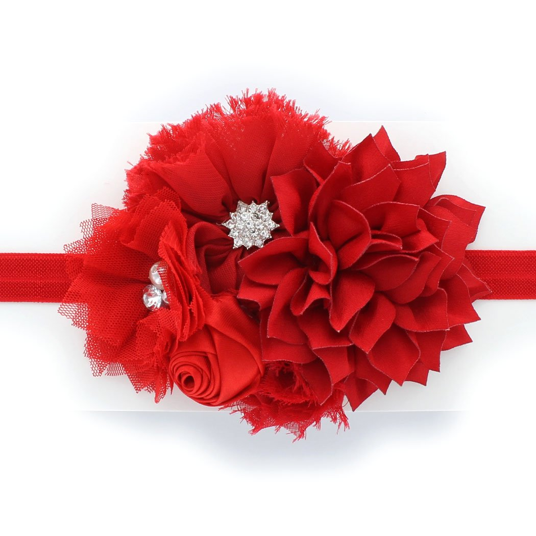 My Lello Toddlers/Girls Flower Headband Shabby Fabric Flower Cluster (Red)