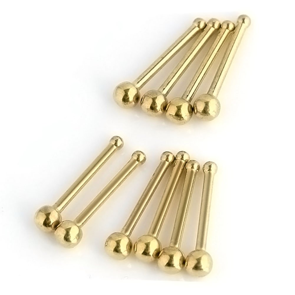 PiercingJ Lot 20g Gauge Stainless Steel Piercing Jewelry Nose Studs Rings (Golden 10pcs)