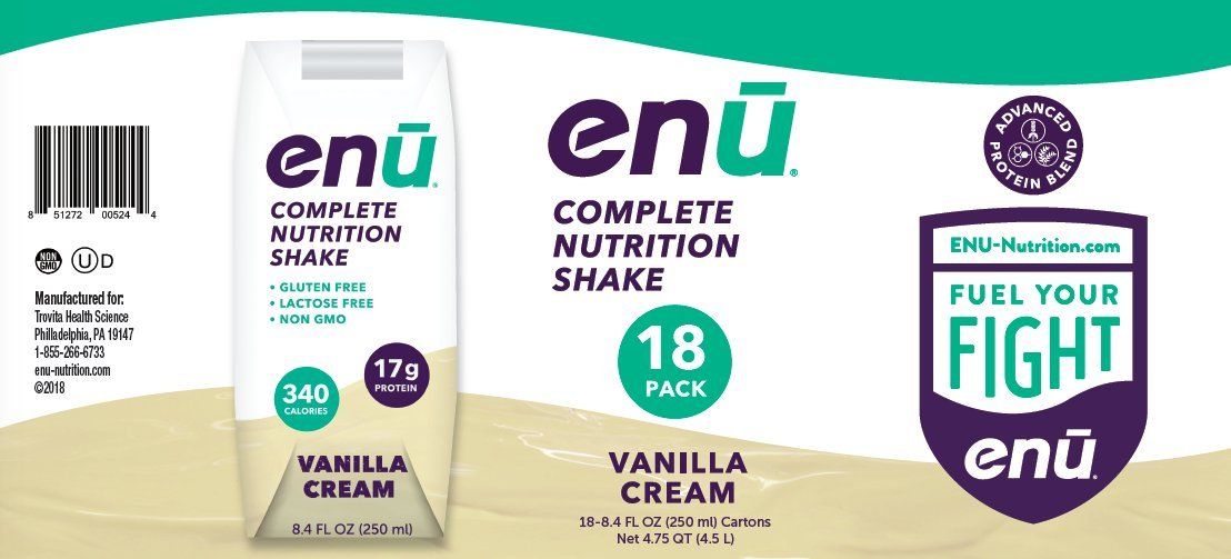 ENU Vanilla Cream Total Meal Shakes for Weight Gain - 18-pack, 8.4 fl oz (250mL) each by ENU Nutrition