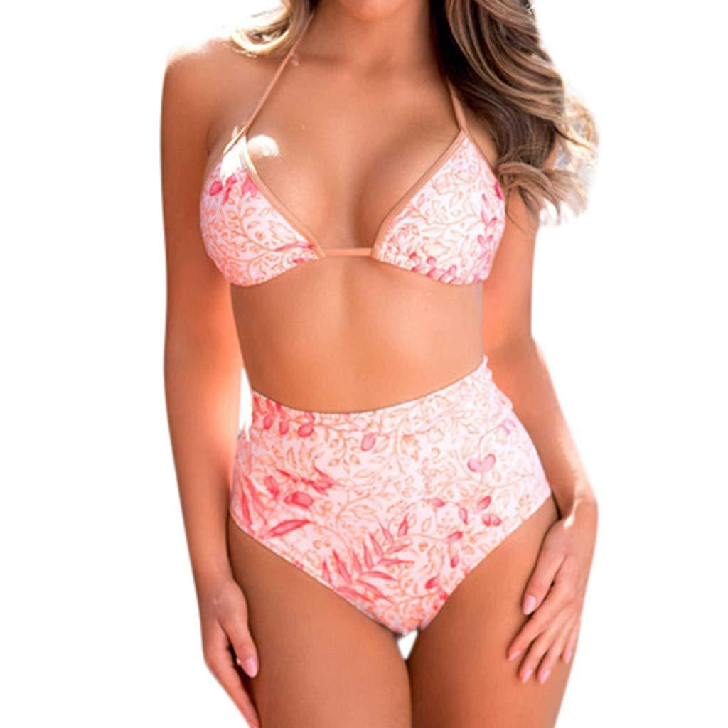 Maillot De Bain Femme Femmes Feuilles Imprimer Tube Up Deux Pi/èCes Bikini Tankini Swimsuit Swimwear Beachwear
