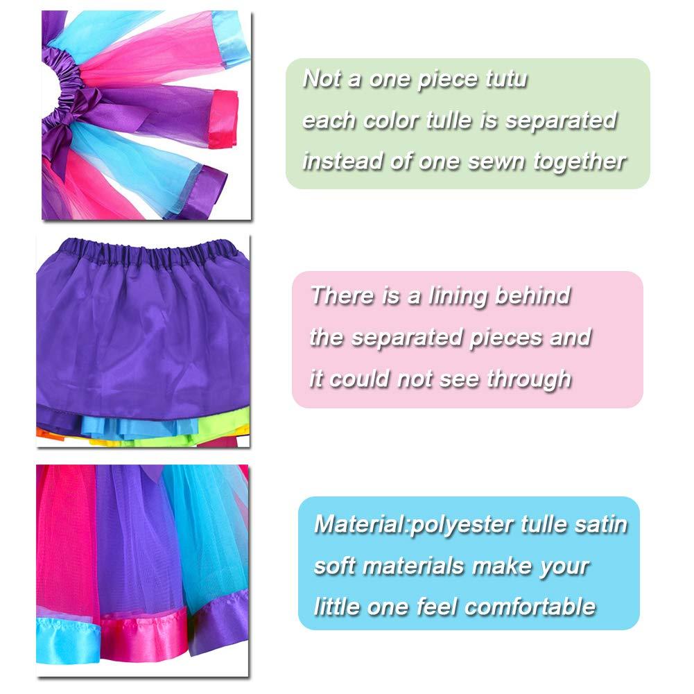 Headband /& Satin Sash JiaDuo Girls Costume Rainbow Tutu Skirt with Unicorn Shirt