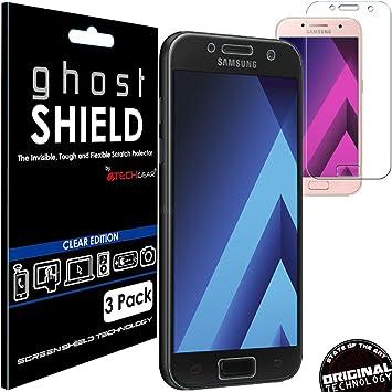 TECHGEAR [3 Piezas Protector de Pantalla Compatible con Samsung Galaxy A5 2017 [ghostSHIELD] Reforzada Flexible TPU Protector de Pantalla con Cobertura de Pantalla Completa inclusiva Pantalla Curva: Amazon.es: Electrónica