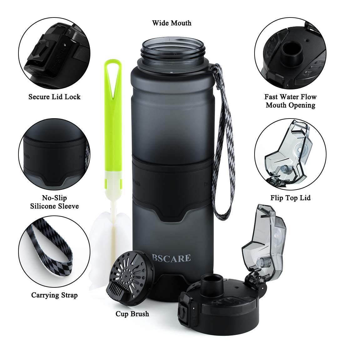 36 Oz Large BPA Free Water Bottle for Fitness Outdoor Enthusiasts Pop Open Lid BSCare Sports Water Bottle Leakproof /& Durable Eco-Friendly Tritan Drink Bottle with Filter
