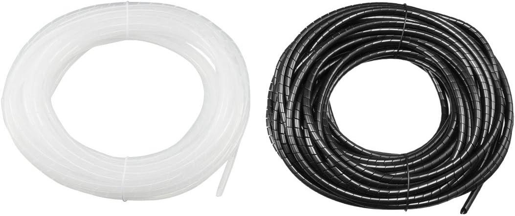 sourcing map 30mm Flexible Spiral Tube C/âble Wire Wrap Computer Manage pour Cord Noir 1M Long
