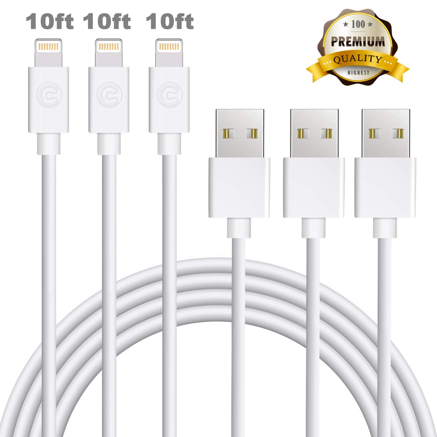 Sundix 3 Pack 10ft Phone Charging Cable Extra Long Phone Cable 8 8 Plus X 7 7Plus 6 6Plus 5 5s 5c SE