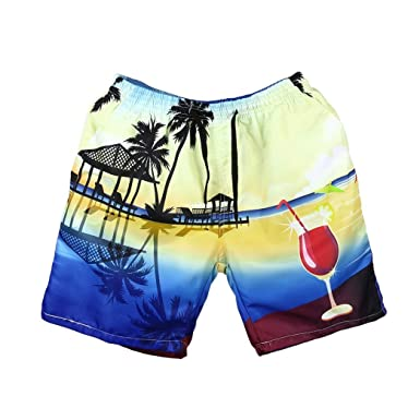 c617f74504 Aurorax Mens Swim Trunks,3D Print Hawaii Swimsuit Cotton Watershorts Beach  Shorts Pants for Sports