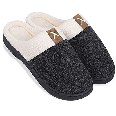 Amazon.com | Aquill-O Women's Memory-Foam-Slippers Comfort Wool Like Push Fleece Lines House Shoes for Indoor & Outdoor | Slippers