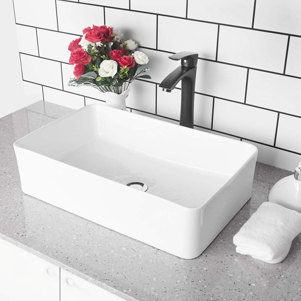 GhomeG 21 x13.5 Bathroom Rectangle Above White Porcelain Ceramic Vessel Vanity Sink Art Basin