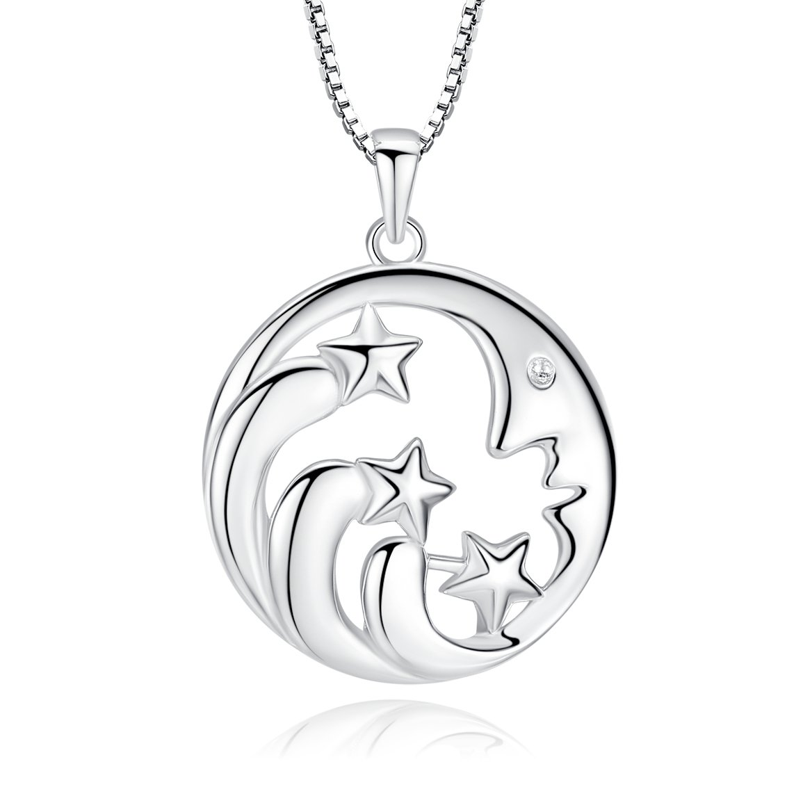 925 Sterling Silver I Love You to the Moon and Back Pendant Necklace Moon Stars Jewelry for Women (moonstrar)