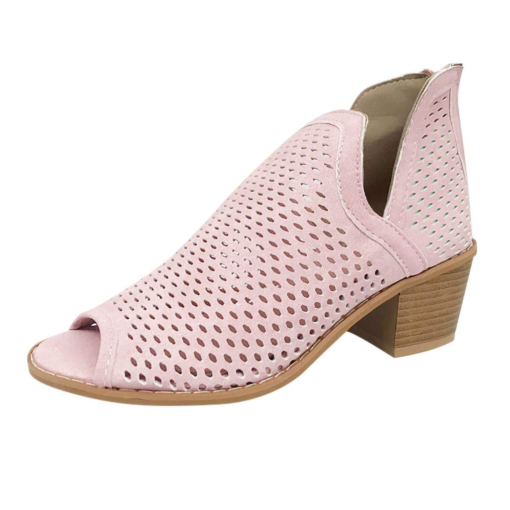 Hunauoo Hot Ankle Boots Women Elegant Retro Hollow Out Thick Low Heel Peep Toe Shoes Roman Short Shoes Pink by Hunauoo Shoes