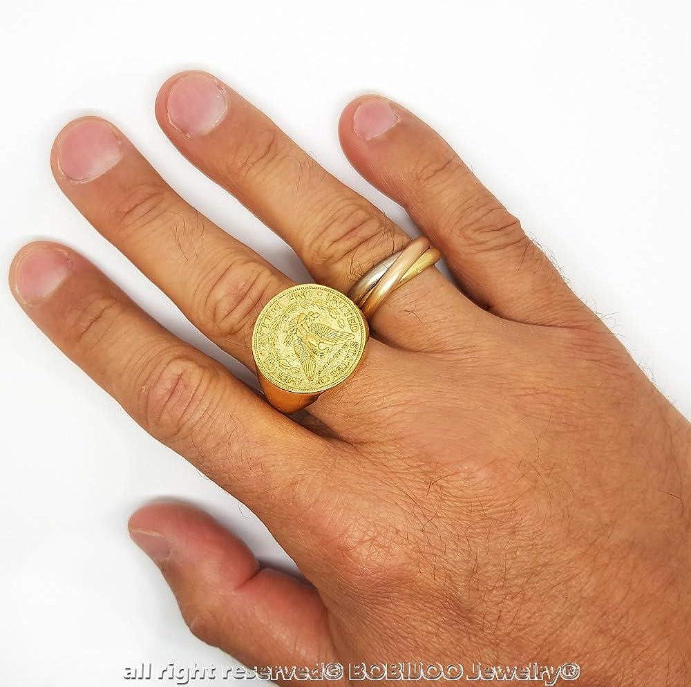 BOBIJOO Jewelry Chevali/ère Bague Homme Pi/èce Morgan 1887 One Dollar USA in God We Trust Acier Or Plaqu/é Dor/é