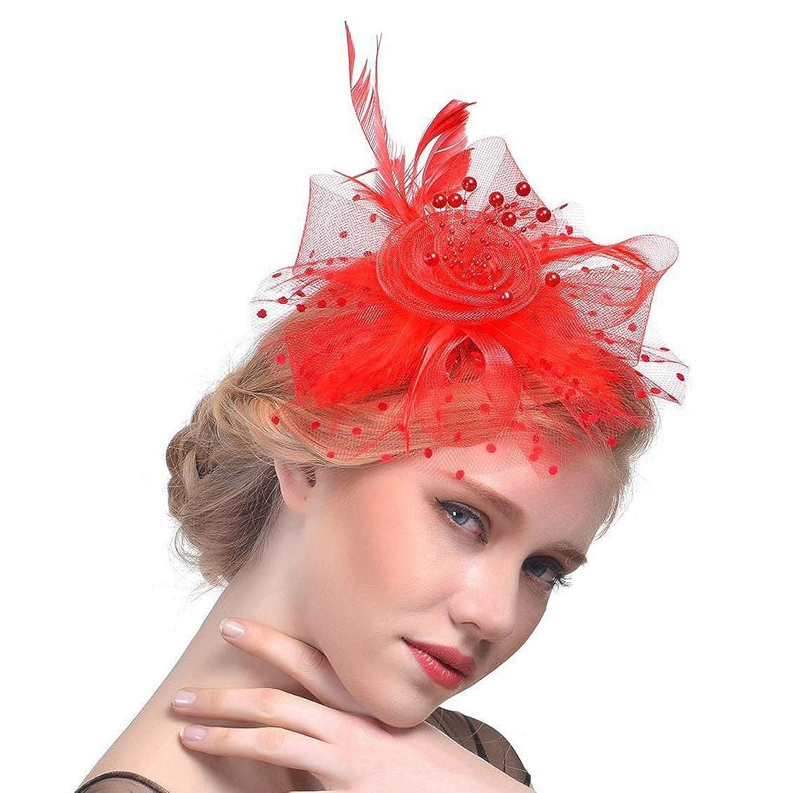 Fasker Women Fascinator Hat Flower Feathers Clip Cocktail Party Headwear Hats CLO-014-1